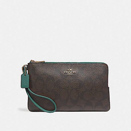 COACH DOUBLE ZIP WALLET IN SIGNATURE CANVAS - BROWN/DARK TURQUOISE/LIGHT GOLD - F16109