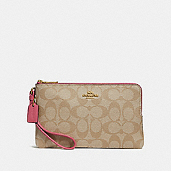 DOUBLE ZIP WALLET IN SIGNATURE CANVAS - LIGHT KHAKI/ROUGE/GOLD - COACH F16109
