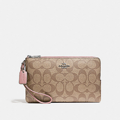 COACH DOUBLE ZIP WALLET IN SIGNATURE CANVAS - KHAKI/PETAL/SILVER - F16109