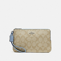 DOUBLE ZIP WALLET IN SIGNATURE CANVAS - LIGHT KHAKI/POOL/SILVER - COACH F16109