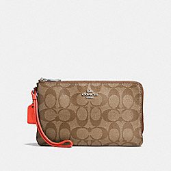 COACH DOUBLE ZIP WALLET IN SIGNATURE COATED CANVAS - SILVER/KHAKI - F16109