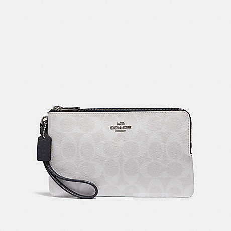 COACH DOUBLE ZIP WALLET IN SIGNATURE CANVAS - chalk/midnight/silver - f16109