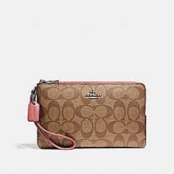 DOUBLE ZIP WALLET - SILVER/KHAKI BLUSH 2 - COACH F16109