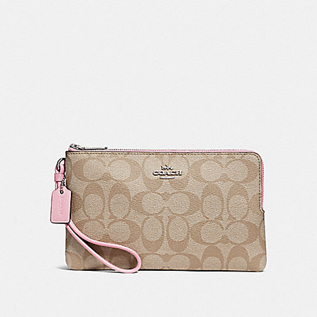 COACH DOUBLE ZIP WALLET IN SIGNATURE CANVAS - LIGHT KHAKI/CARNATION/SILVER - F16109