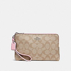 DOUBLE ZIP WALLET IN SIGNATURE CANVAS - LIGHT KHAKI/CARNATION/SILVER - COACH F16109