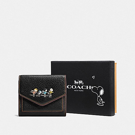 COACH BOXED SMALL WALLET WITH SNOOPY - BLACK ANTIQUE NICKEL/BLACK - F16121