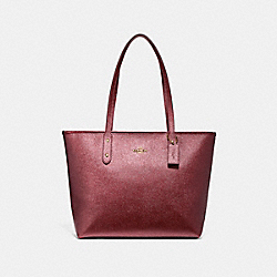 COACH CITY ZIP TOTE - LIGHT GOLD/METALLIC CHERRY - F16224