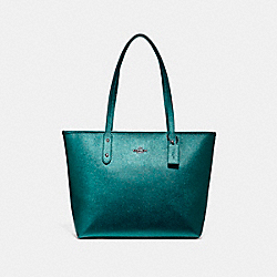 COACH CITY ZIP TOTE - BLACK ANTIQUE NICKEL/METALLIC DARK TEAL - F16224