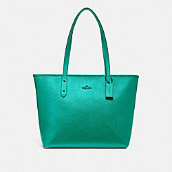 CITY ZIP TOTE - METALLIC SEA GREEN - COACH F16224
