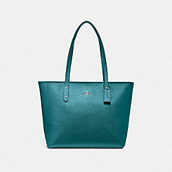 CITY ZIP TOTE - METALLIC DARK TURQUOISE/SILVER - COACH F16224