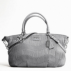 COACH MADISON GATHERED LEATHER LARGE SOPHIA SATCHEL - SILVER/PEARL GREY - F16264