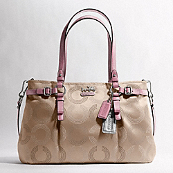 COACH MADISON DOTTED OP ART CARRYALL - SILVER/LIGHT KHAKI/ROSE - F16366