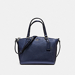 COACH MINI KELSEY SATCHEL IN METALLIC PEBBLE LEATHER - SILVER/METALLIC NAVY - F16479