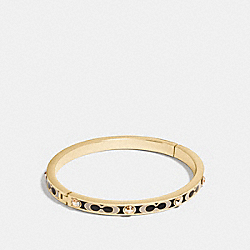 SIGNATURE STONE HINGED BANGLE - f16510 - GOLD/BLACK