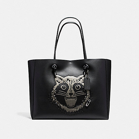 COACH f16513 SHOPPING TOTE 39 IN POLISHED PEBBLE LEATHER WITH RACCOON ANTIQUE NICKEL/BLACK