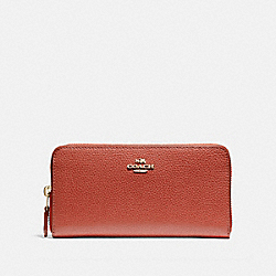 COACH ACCORDION ZIP WALLET - terracotta/imitation gold - F16612