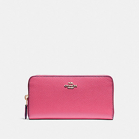 COACH ACCORDION ZIP WALLET - PINK RUBY/GOLD - F16612