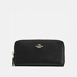 COACH ACCORDION ZIP WALLET IN POLISHED PEBBLE LEATHER - IMITATION GOLD/BLACK - F16612