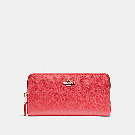 COACH ACCORDION ZIP WALLET IN POLISHED PEBBLE LEATHER - LIGHT GOLD/TRUE RED - f16612