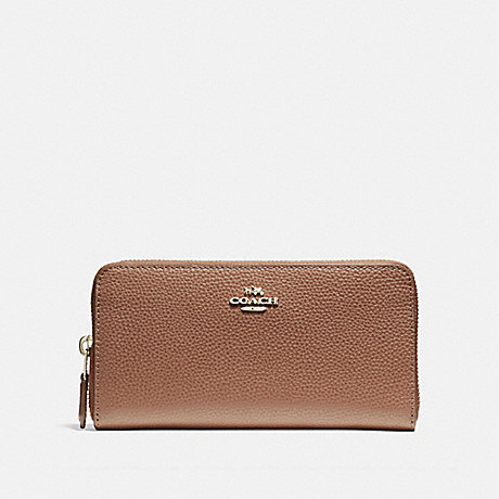 COACH ACCORDION ZIP WALLET - SADDLE 2/LIGHT GOLD - F16612
