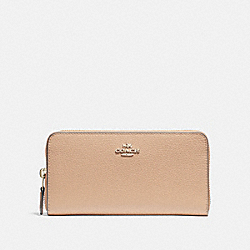 COACH ACCORDION ZIP WALLET - BEECHWOOD/light gold - F16612