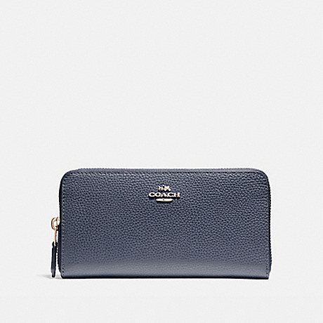 COACH ACCORDION ZIP WALLET - LIGHT GOLD/MIDNIGHT - f16612