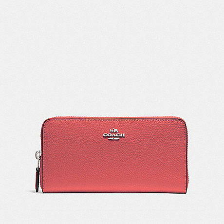 COACH ACCORDION ZIP WALLET - CORAL 2/SILVER - F16612