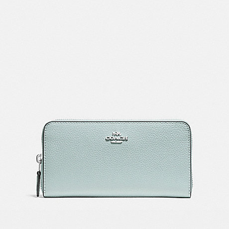 COACH ACCORDION ZIP WALLET IN POLISHED PEBBLE LEATHER - SILVER/AQUA - f16612