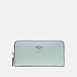 ACCORDION ZIP WALLET IN POLISHED PEBBLE LEATHER - f16612 - SILVER/AQUA