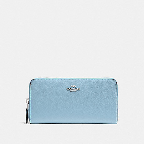 COACH ACCORDION ZIP WALLET - CORNFLOWER/SILVER - F16612