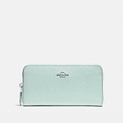 COACH ACCORDION ZIP WALLET - SILVER/SEA GREEN - F16612