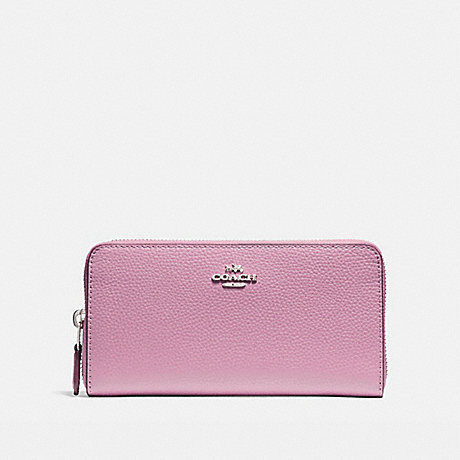COACH ACCORDION ZIP WALLET IN POLISHED PEBBLE LEATHER - SILVER/LILAC - f16612