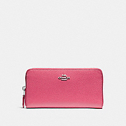 COACH ACCORDION ZIP WALLET - SILVER/MAGENTA - F16612