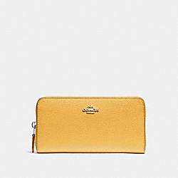 COACH ACCORDION ZIP WALLET - SILVER/MUSTARD - F16612