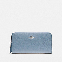 COACH ACCORDION ZIP WALLET - SILVER/DUSK 2 - F16612