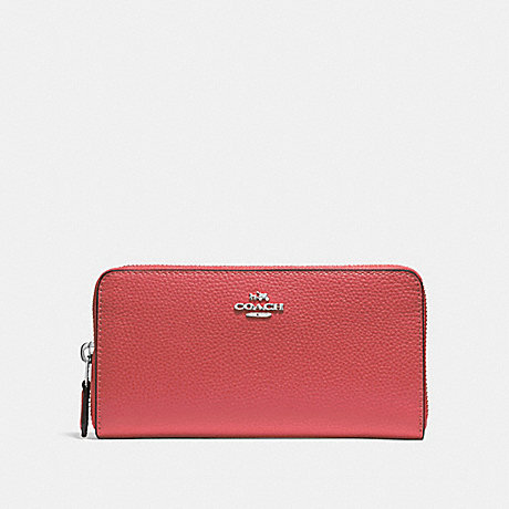 COACH ACCORDION ZIP WALLET - WASHED RED/SILVER - F16612