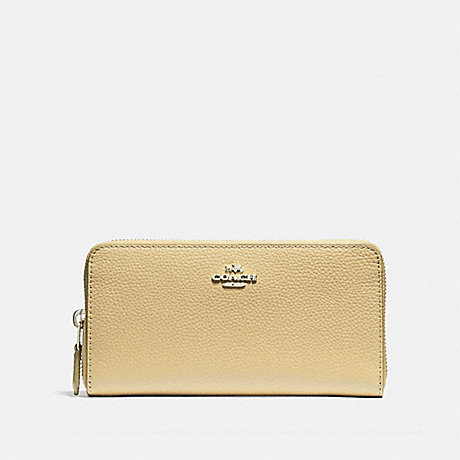 COACH ACCORDION ZIP WALLET - VANILLA/SILVER - F16612