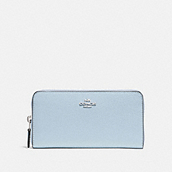 COACH ACCORDION ZIP WALLET - SILVER/PALE BLUE - F16612