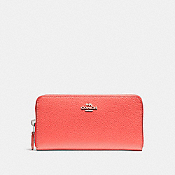 COACH ACCORDION ZIP WALLET - SILVER/WATERMELON - F16612