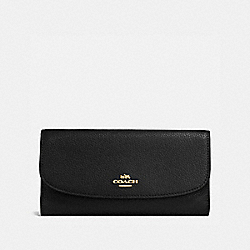 COACH CHECKBOOK WALLET IN POLISHED PEBBLE LEATHER - IMITATION GOLD/BLACK - F16613
