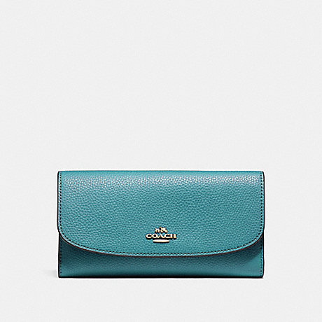 COACH CHECKBOOK WALLET IN POLISHED PEBBLE LEATHER - LIGHT GOLD/DARK TEAL - f16613