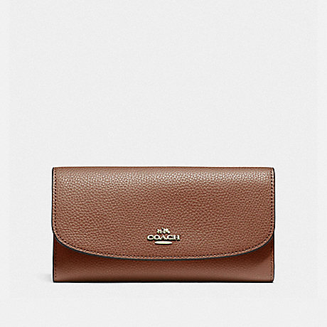 COACH CHECKBOOK WALLET - SADDLE 2/LIGHT GOLD - F16613