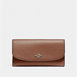 COACH CHECKBOOK WALLET IN POLISHED PEBBLE LEATHER - LIGHT GOLD/SADDLE 2 - F16613