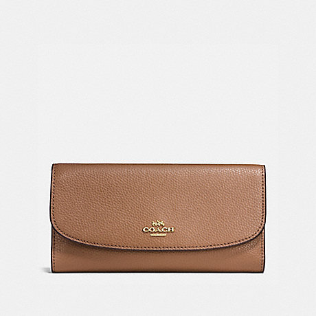 COACH CHECKBOOK WALLET - SADDLE/LIGHT GOLD - F16613