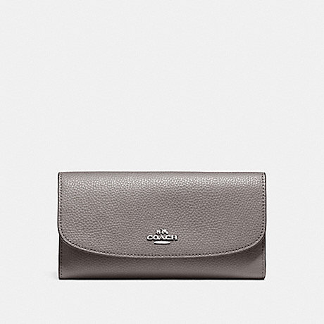 COACH CHECKBOOK WALLET IN POLISHED PEBBLE LEATHER - SILVER/HEATHER GREY - f16613