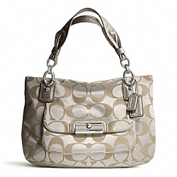 COACH KRISTIN SIGNATURE SATEEN EAST/WEST ZIP TOP TOTE - SILVER/CRM LT KHA/PLATINUM - F16778