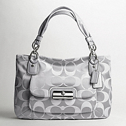 COACH KRISTIN SIGNATURE SATEEN EAST/WEST ZIP TOP TOTE - SILVER/FOG - F16778