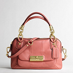 KRISTIN LEATHER DOUBLE ZIP SATCHEL - f16868 - BRASS/PEONY