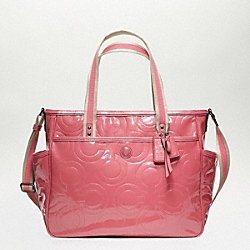 COACH BABY BAG PATENT TOTE - SILVER/ROSE - F16977