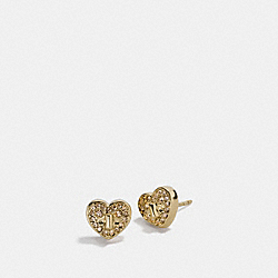 TWINKLING HEART STUD EARRING - f17448 - GOLD